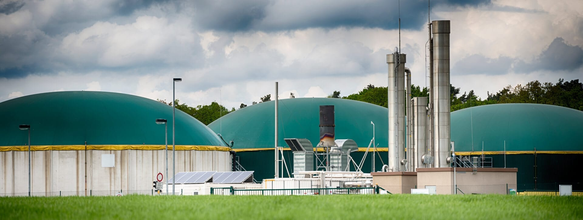 Biogas industrial location with three domed buildings
